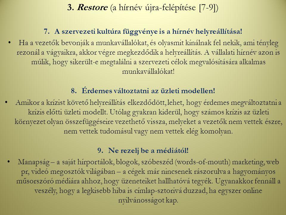 3. Restore (a hírnév újra-felépítése [7-9])